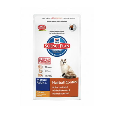 Hill's Science Plan Feline Senior Mature 7+ Hairball Control Chicken