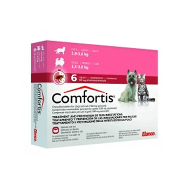 Comfortis Chewable Flea Tablets For Dogs & Cats 180mg